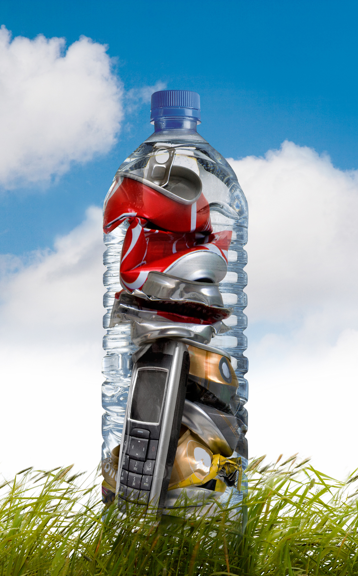 image of recycled devices in a water bottle.