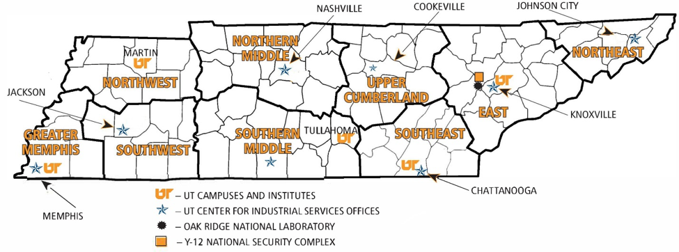 Map of center service regions.
