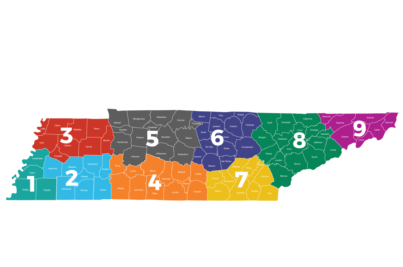 Map of Tennessee mapped into regions